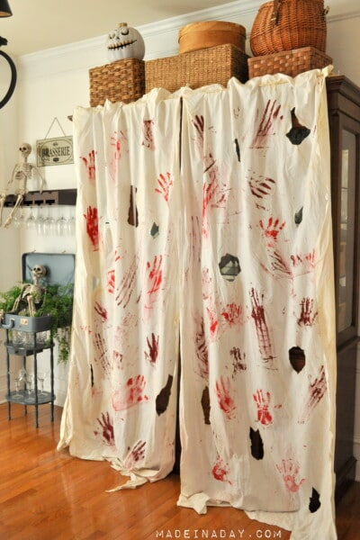 Blood Spatter Curtains & FREE Bloody Printable Banner
