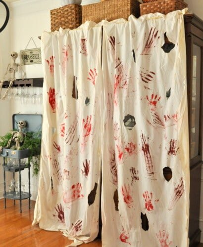 Blood Spatter Curtains & FREE Bloody Printable Banner 31