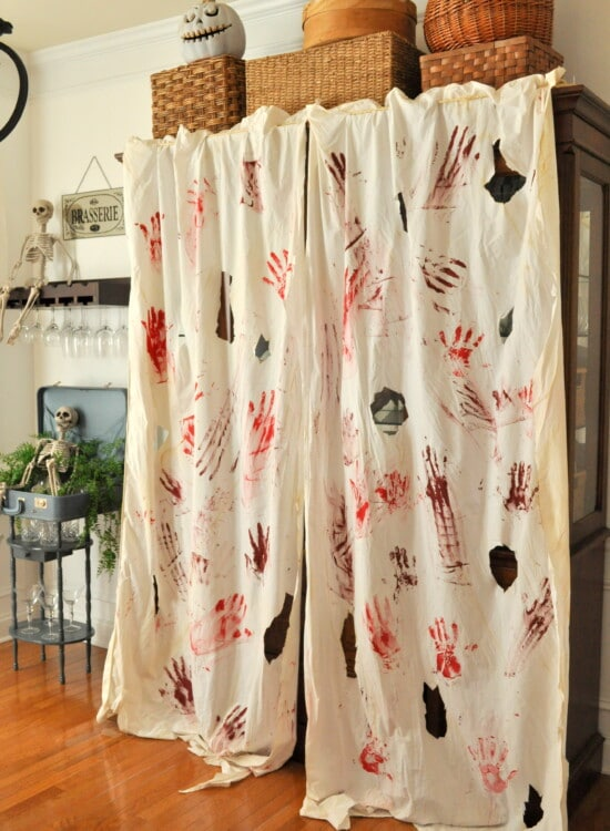 Blood Spatter Curtains & FREE Bloody Printable Banner 34
