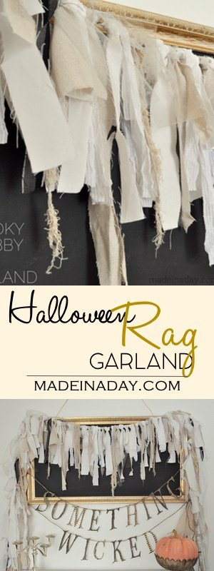 Spooky Shabby Rag Garland,Super easy Shabby Rag Garland to create a spooky look to Halloween Decor! Rag garland, rope garland, Halloween Decorating, Halloween decor, see the tutorial on madeinaday.com