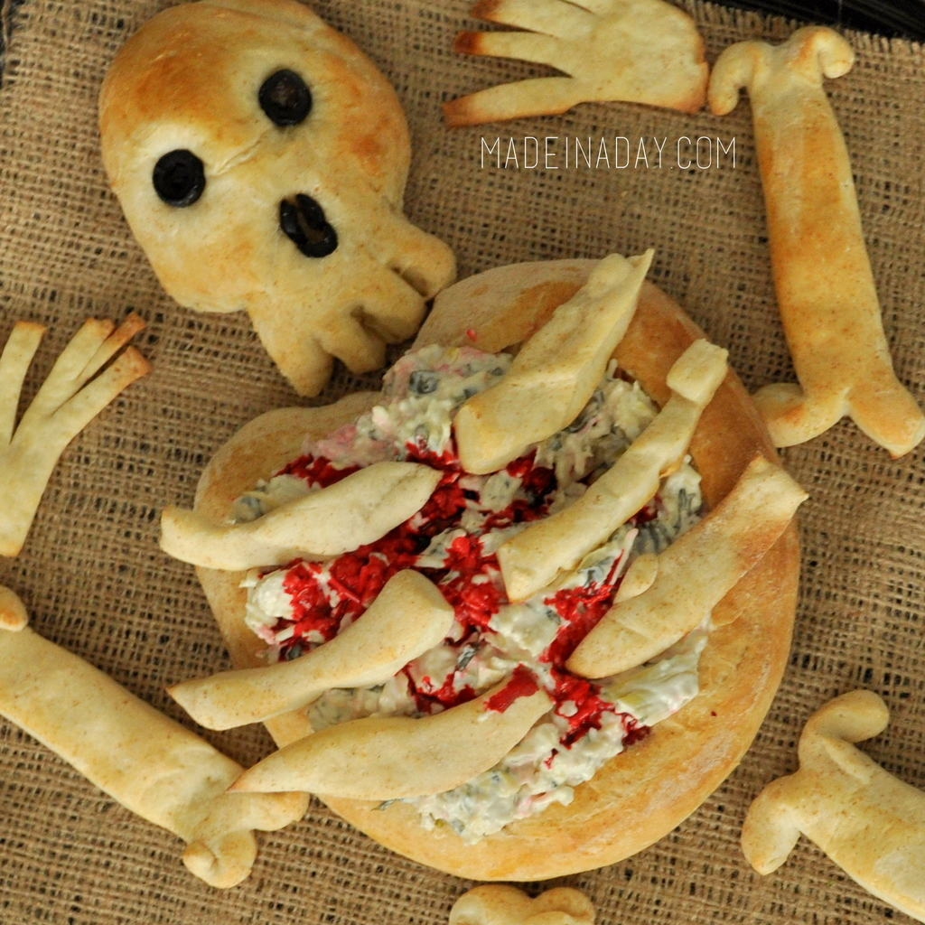 Skeleton Bone Bread Bowl for Halloween madeinaday.com
