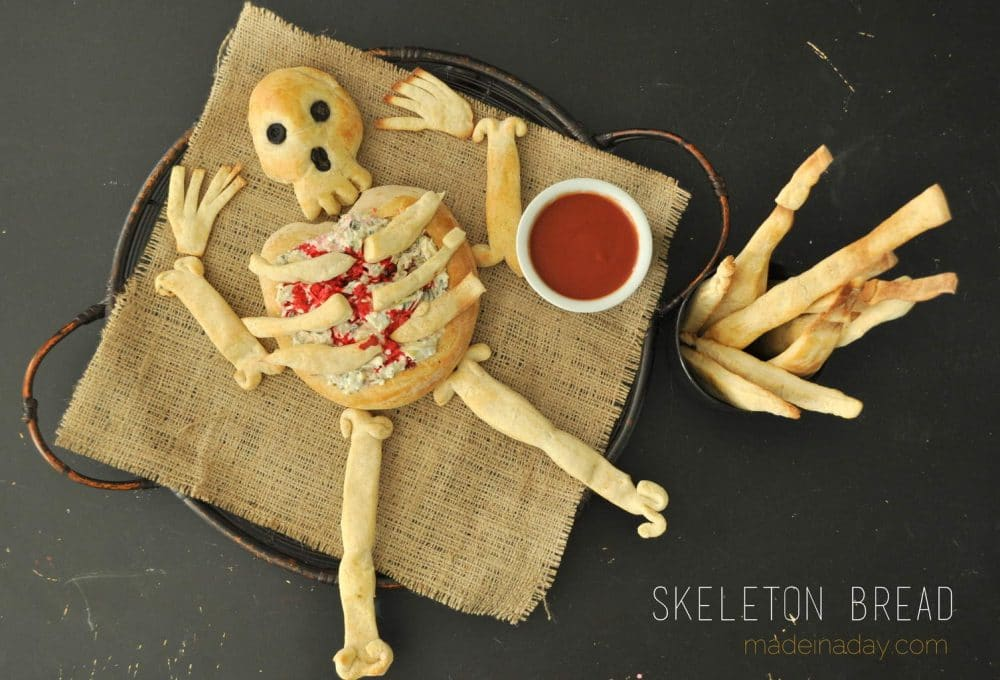 Skeleton Bread & Breadsticks, Halloween party appetizer,