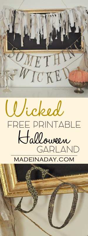 Something Wicked Garland FREE Printable,#FREE printable Garland for Halloween! Cut out with a Silhouette Cameo, X-Acto Knife or scissors! Great for Halloween decor!