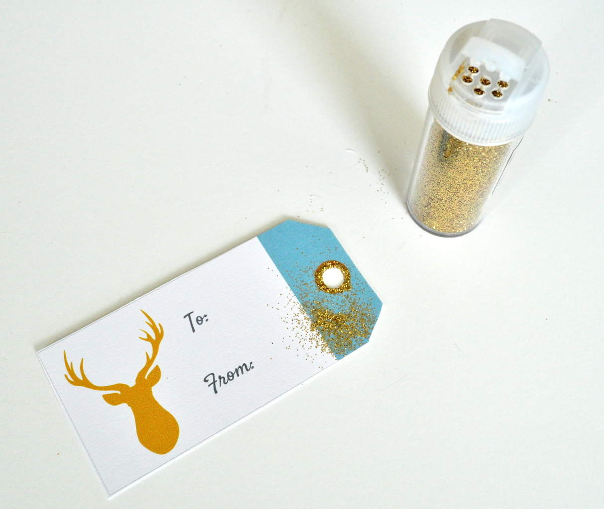 Add Glitter to Holiday Gift Tags