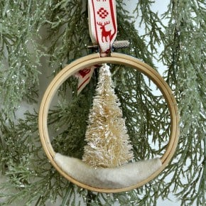 Bottle Brush Embroidery Hoop Ornament madeinaday.com