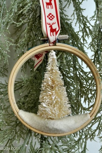 Bottle Brush Embroidery Hoop Ornament
