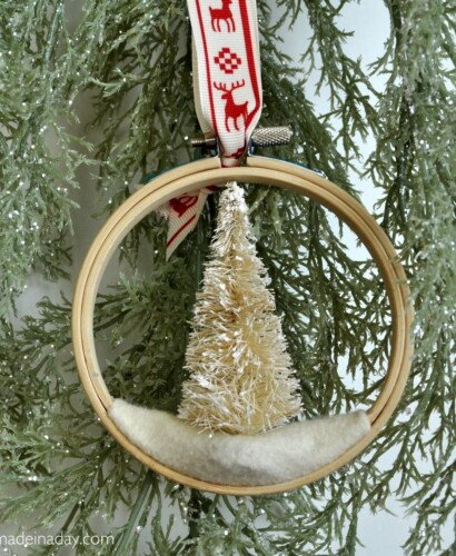 Bottle Brush Tree Embroidery Hoop Ornament 34