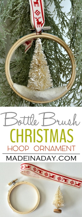 Bottle Brush Tree Embroidery Hoop Christmas Ornament