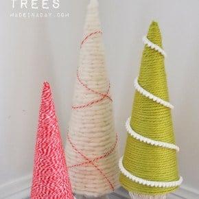 Easy Yarn Holiday Cone Trees
