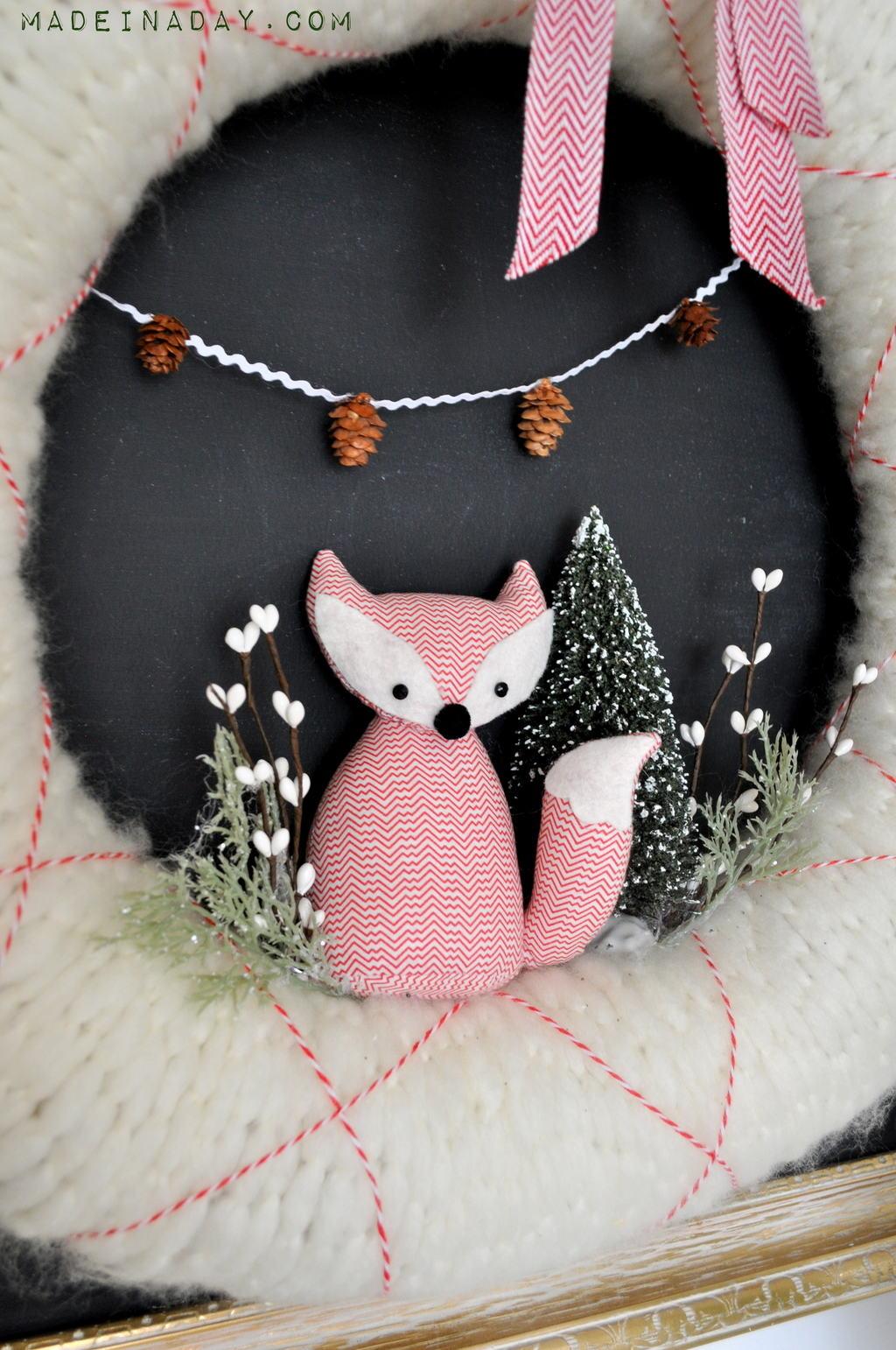 Fox Christmas Holiday Wreath