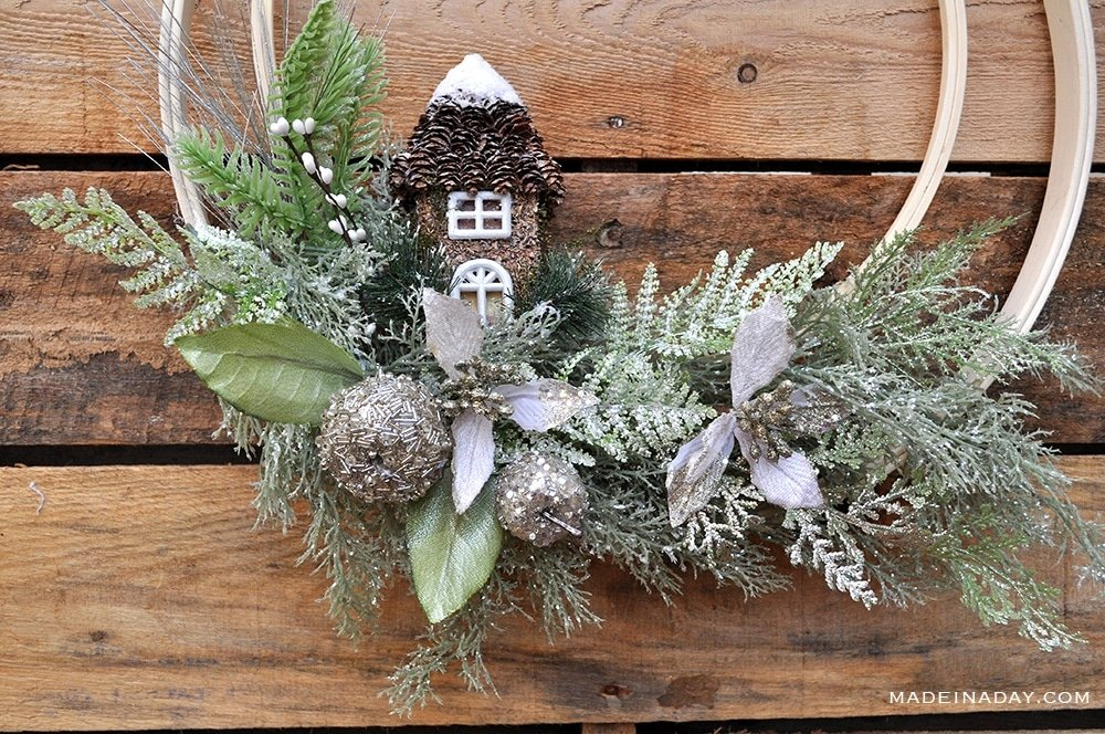 how to make a woodland wreath, Christmas Fairy house