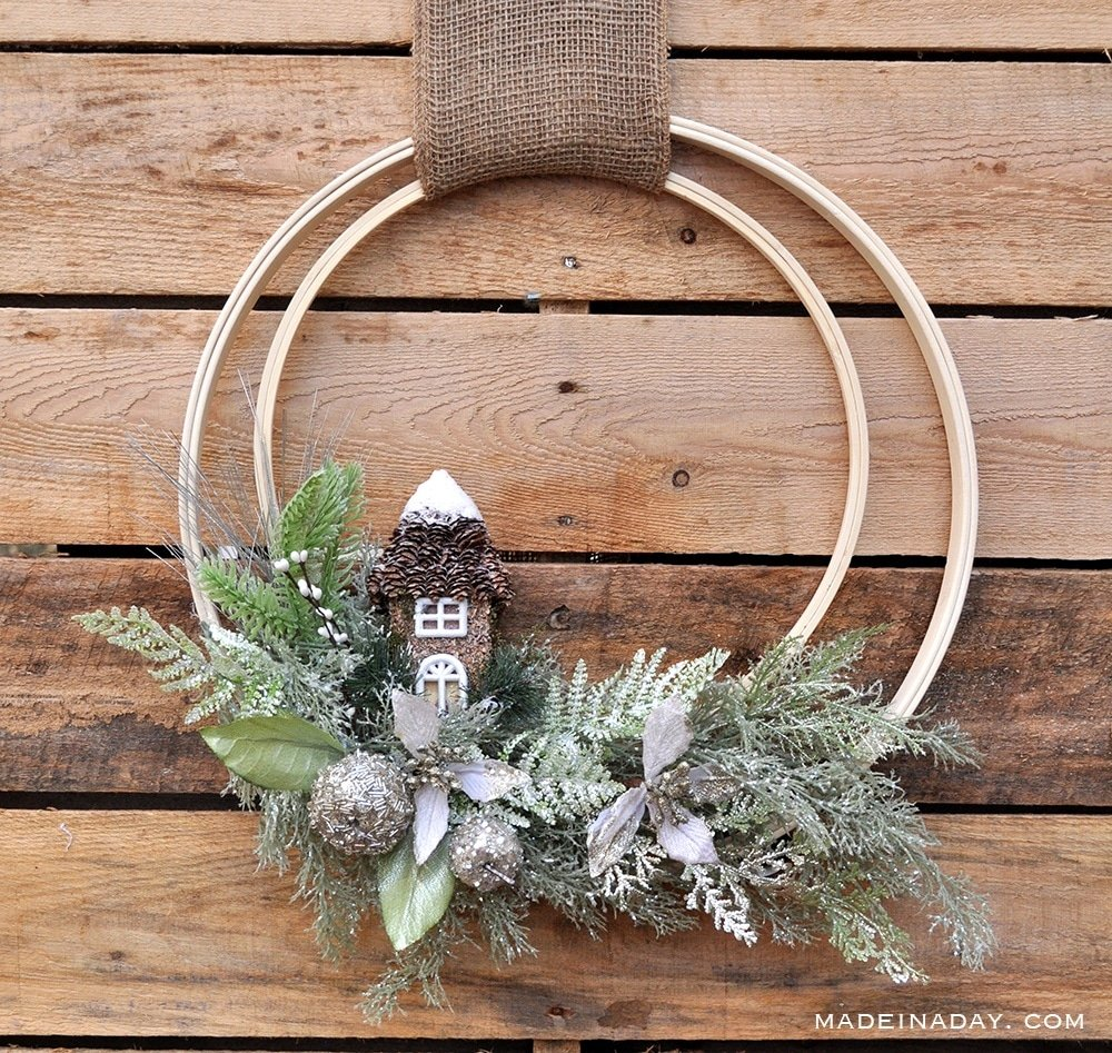 woodland wreath, fairy holiday wreath, fairy door wreath, frosted woodland wreath