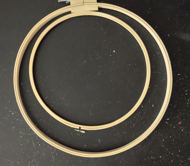 Glue embroidery hoops to make wreath