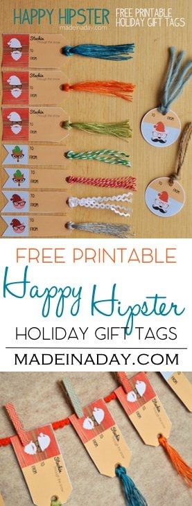 Hipster Holiday Free Printable Gift Tags 2