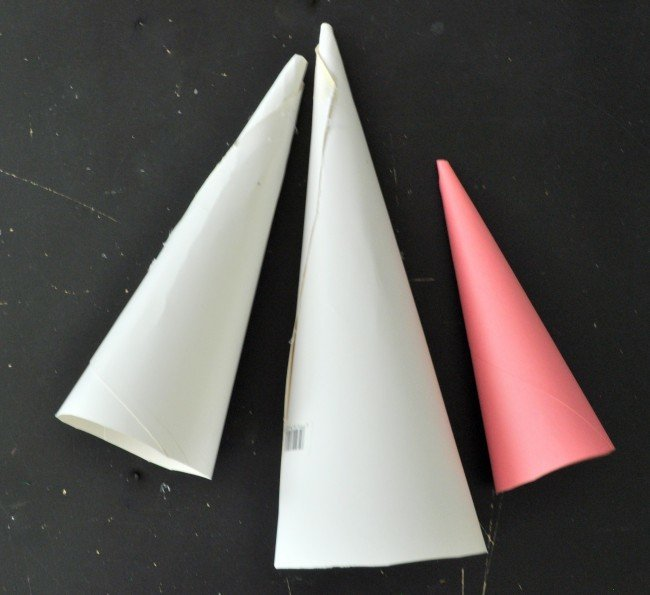 Holiday cone trees out of poster board