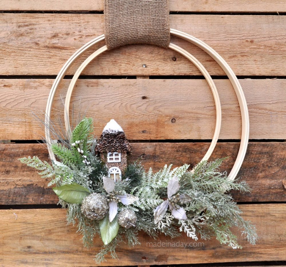 Woodland Holiday Embroidery Hoop Wreath