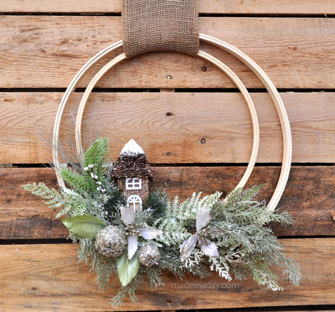 Woodland Holiday Embroidery Hoop Wreath madeinaday.com