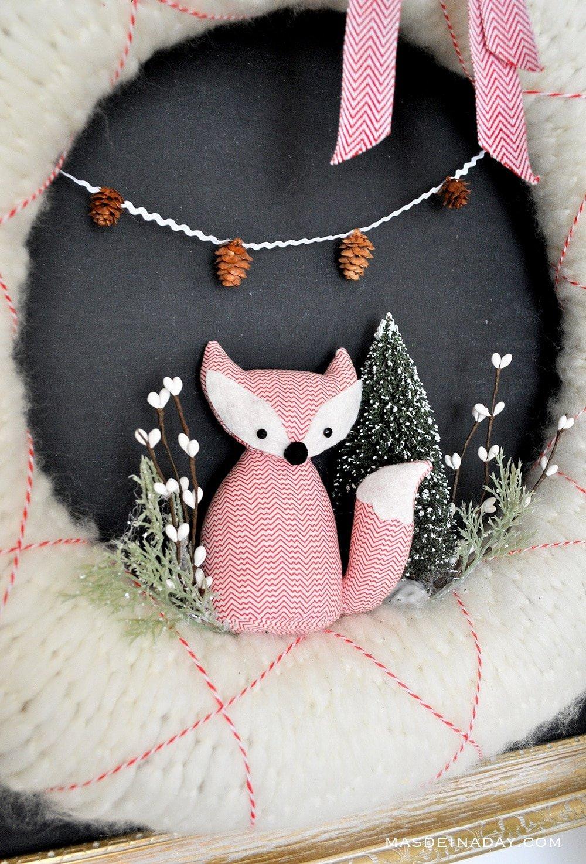 bottle brush woodland fox wreath, woodland holiday wreath