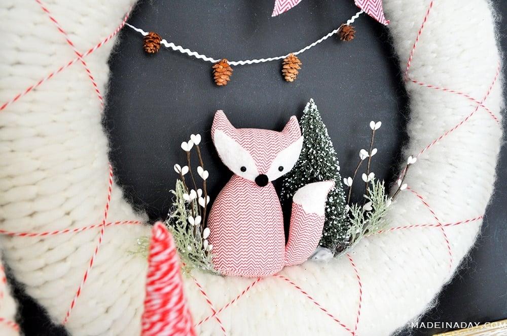 vintage fox wreath, Christmas fox wreath, holiday fox wreath