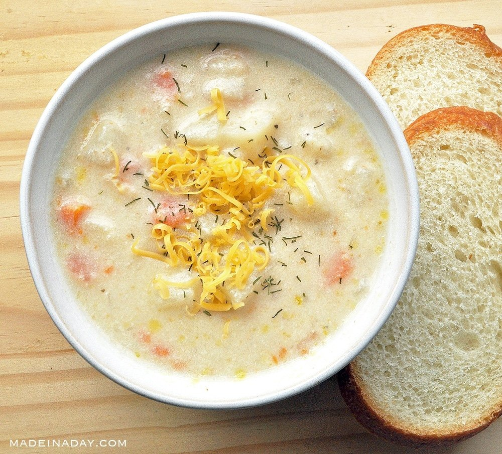 shrimp chowder, one pot potato shrimp chowder, shrimp soup with dill, new England shrimp chowder