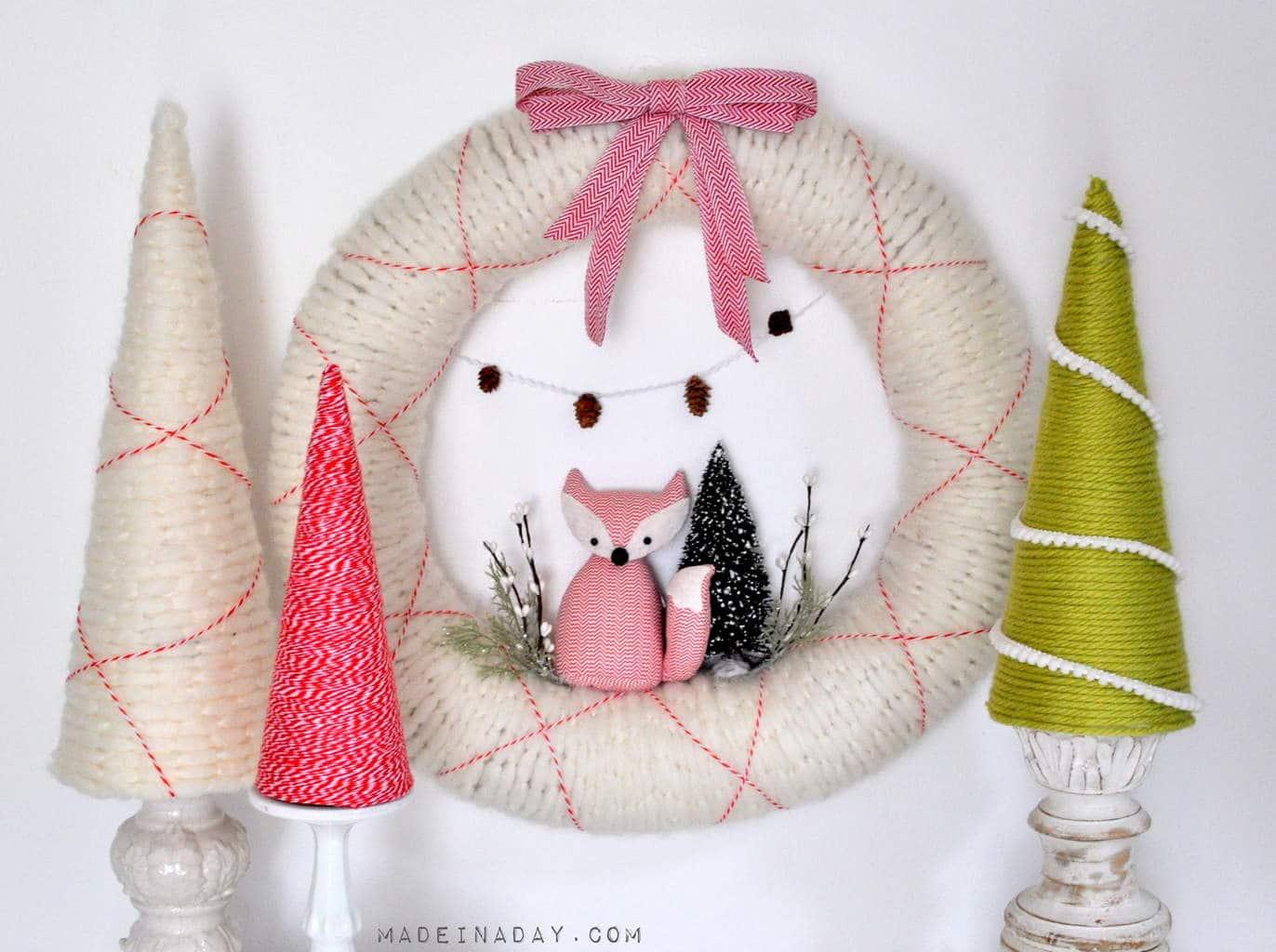 Fox Wreath and Easy Yarn Trees madeinaday.com