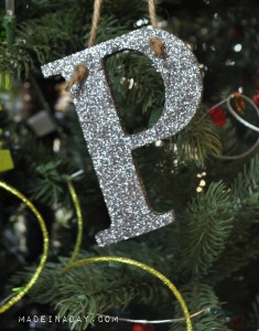 Glitter Monogram Ornament madeinaday.com
