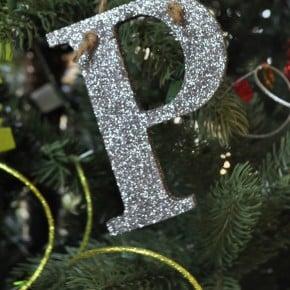 Glitter Monogram Ornament madeinaday.com