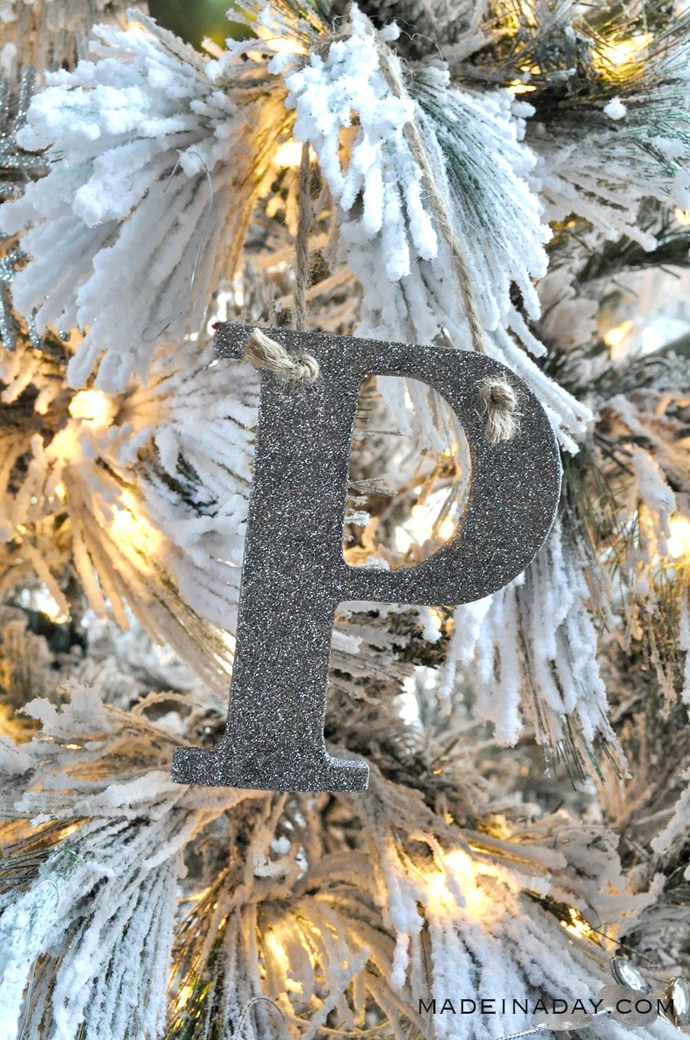 Glitter Monogram ornament, silver alphabet letter ornament,