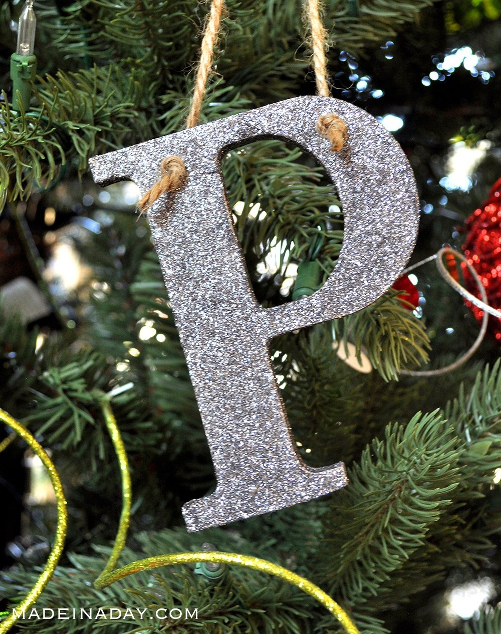 silver glitter ornament, monogram glitter ornament