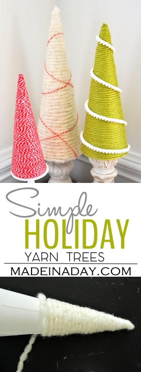 Simple Sweet Holiday Yarn Trees, Yarn wrapped cones with simple trim! Yarn cones trees, holiday tree #yarn #holiday #Chrisrtmas