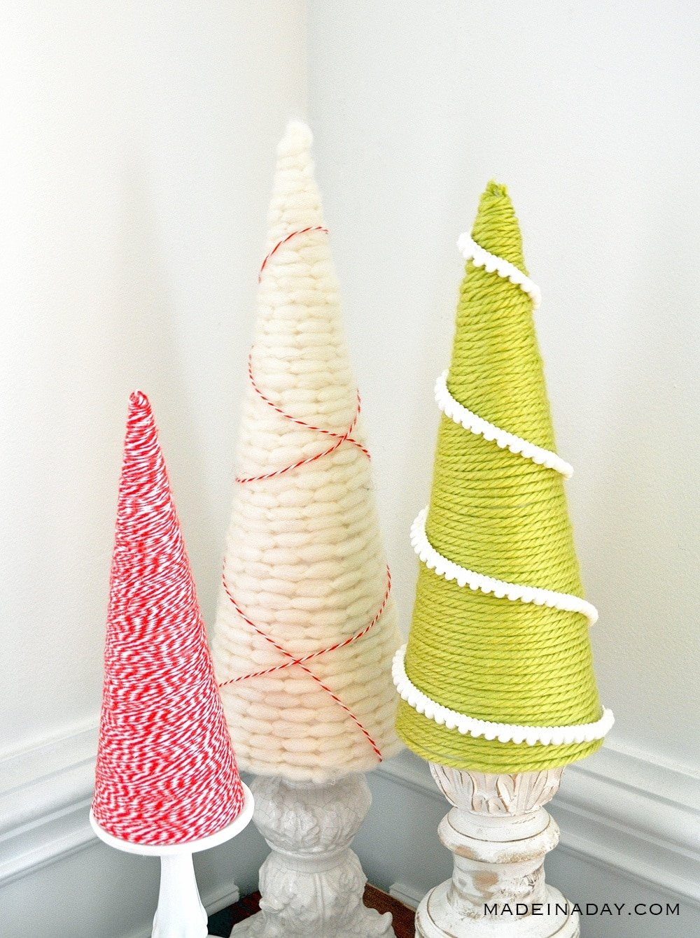 holiday cone tree, yarn tree