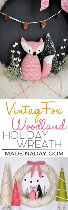 Vintage Fox Holiday Woodland Wreath, brush trees, holiday yarn cone trees, mini pinecones, argyle wrapped wreath.