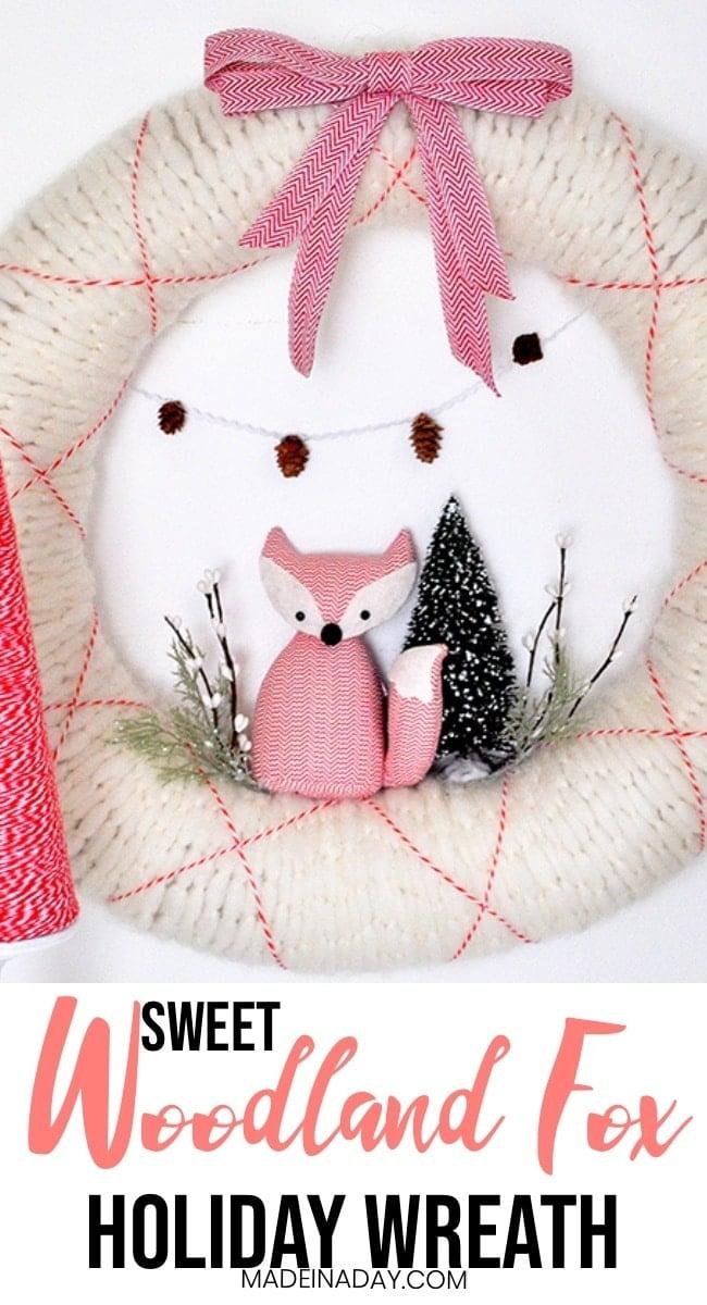 Woodland fox Wreath, Holiday fox wreath