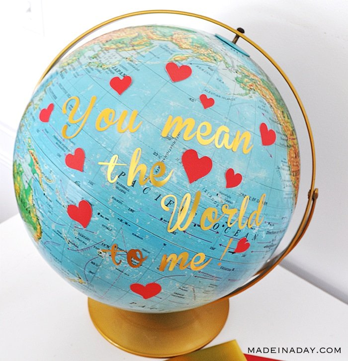 Easy DIY Globe Valentine Add lettering and hearts to a globe, Valentine's Day Globe, valentine globe, valentines day globe craft, #valentinesday #globe