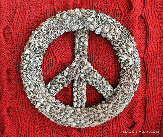 Pine cone peace sign, frosted pine cone wreath
