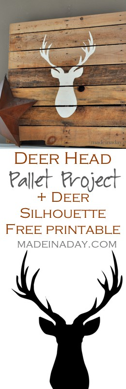Deer Head Pallet + FREE Printable Deer Silhouette, Learn to make a Deer Silhouette Pallet and get your own free printable deer silhouette, Silhouette Cameo, on madeinaday.com