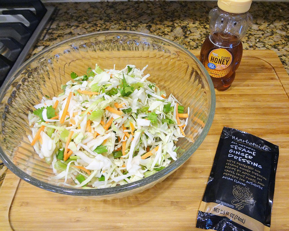 Super Easy Asian Slaw with Ginger Dressing 3
