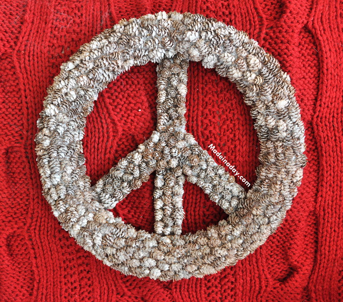 PINECONE PEACE SIGN WREATH