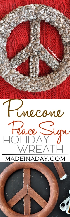 Pine Cone Peace Sign PB Hack, Make this easy DIY Holiday Pinecone wreath with mini pine cones & glitter!