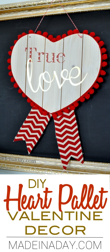 I just love this DIY Heart Pallet Valentine tutorial featuring Silhouette Cameo Gold foil and easy white wash painting. Pom pom Valentine.