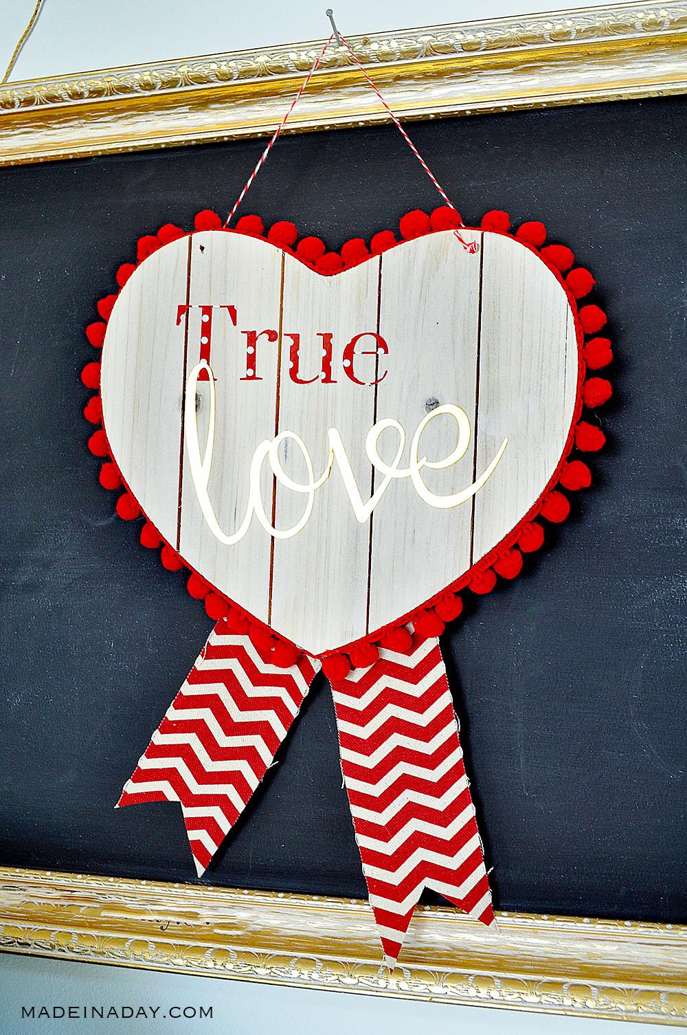 Valentine Wood Heart Door Hanger