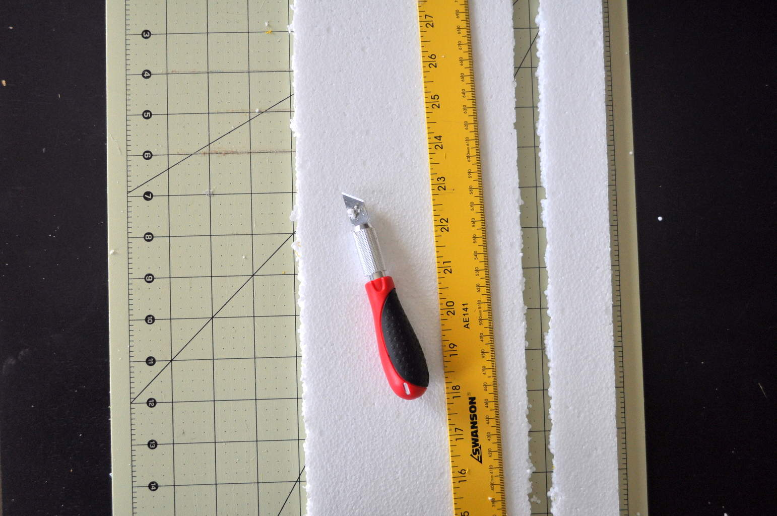 cut foam with x-acto knife and ruler