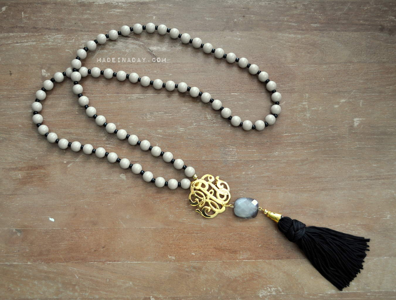Black Grey Monogram Tassel Necklace madeinaday.com