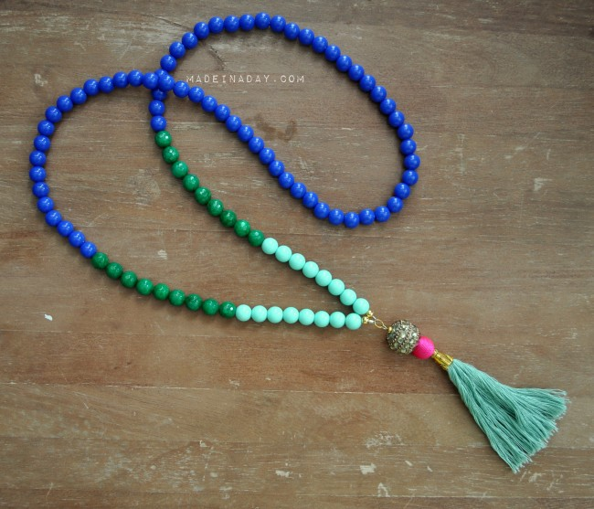 Blue Green Teal Tassel Necklace madeinaday.com