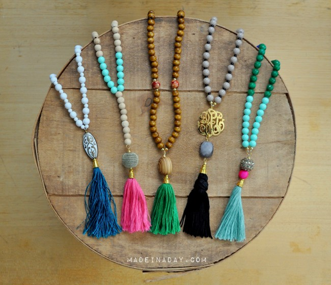 DIY Tassel Necklaces madeinaday.com