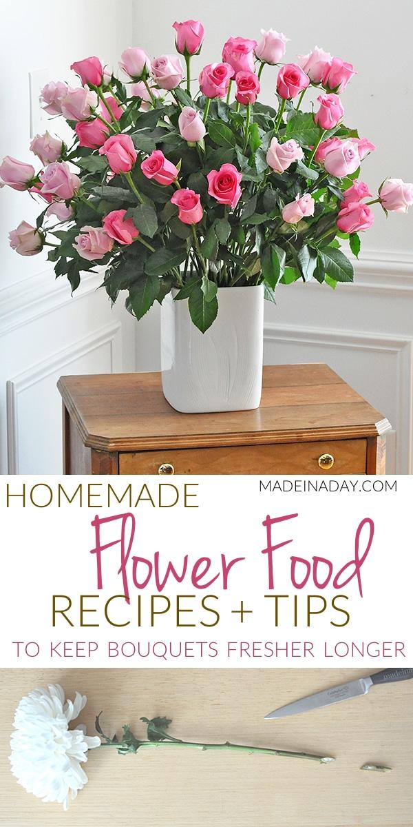 DIY Cut Flower Food Recipes, Floral Designer tips, cut flower food, flower food diy, Homemade Flower food recipes, #flowerfood, #floral, #plantfood,