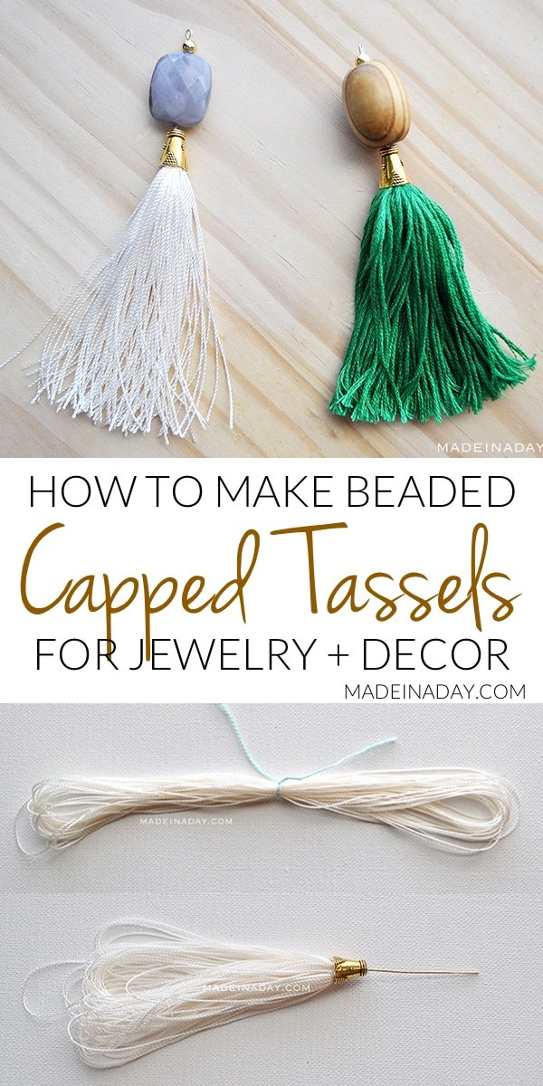Simple tutorial to make capped tassels with beads attached for tassel necklaces, key chains, decor and more. Embroidery floss, bead caps, jewelry pins, nylon string, #cappedtassel #tassel #beadedtassel
