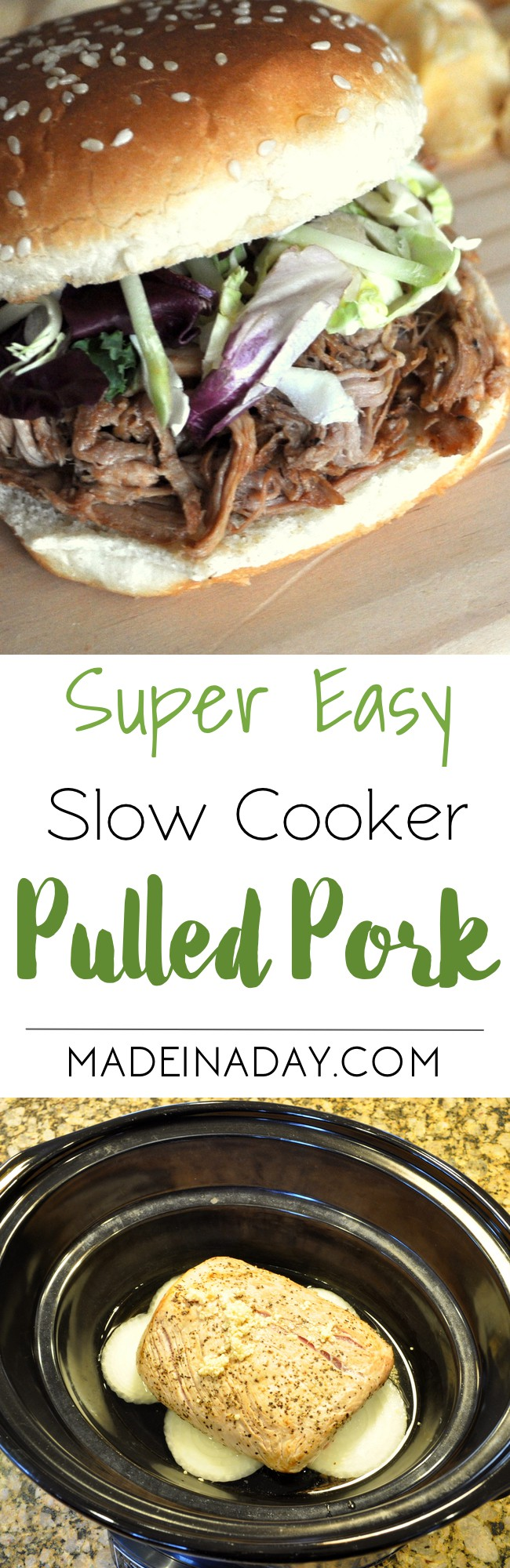 Super Easy & Delicious Slow Cooker Pulled Pork, Crock up a pork roast, shred and add your favorite BBQ sauce for one easy weeknight meal! Recipe on madeinaday.com