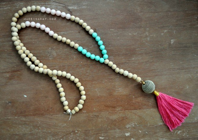 Teal Pink Wood Tassel Necklace madeinaday.com