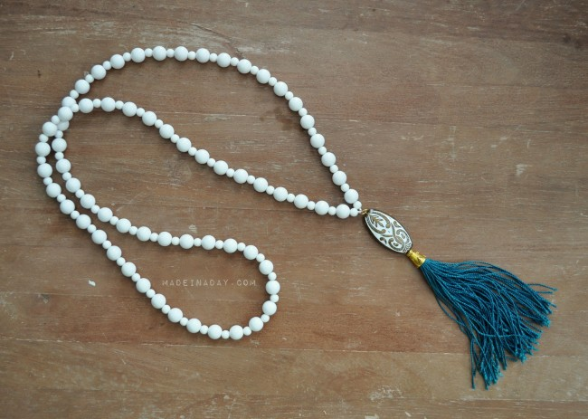 White Teal Tassel Necklace madeinaday.com